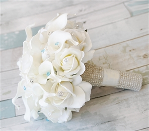 Real Touch Off-White Roses and Calla Lilies Silk Wedding Flower Bouquet