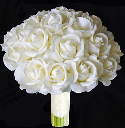 Real Touch Off White Silk Roses Bouquet - Natural Touch Wedding Flowers