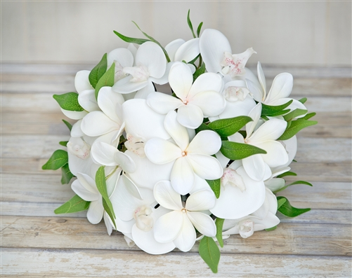 White Tropical Bouquet with Off White Orchids & Plumerias Silk Wedding Flowers