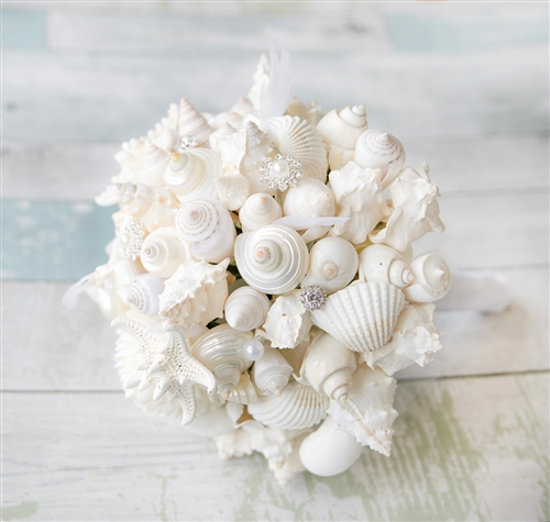 Seashell Wedding Bouquet, Starfish Bouquet for a Beach Wedding