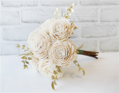 Rustic Sola Wood Wedding Flowers with Gold Fillers