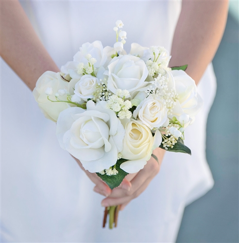 Real Touch Champagne & Off White Roses and Fillers Silk Wedding Bouquet