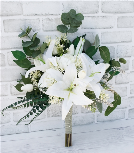Real Touch Casablanca Lily Wedding Bouquet - Tulips, Roses and Green Sprays.