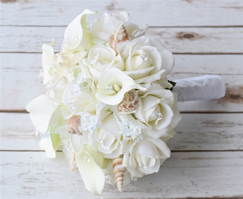 Seashells and Real Touch Off-White Roses Bouquet - Beach Wedding Bouquet