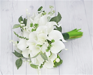 Real Touch Off-White Calla Lilies Garden Green Sprays Silk Wedding Bouquet