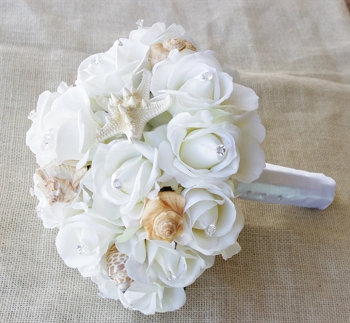 Seashells and Natural Touch Off-White Roses Bouquet
