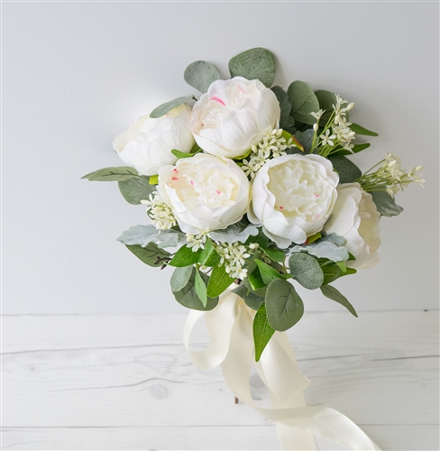 White and Cream Silk Wedding Peony Bouquet