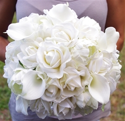 Silk Wedding Bouquet. Ivory Roses, Peonies and Callas Real Touch Wedding Bouquet.