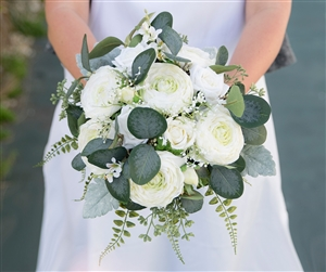 Ranunculus and Eucalyptus Wild Boho Rustic Silk Wedding Bouquet