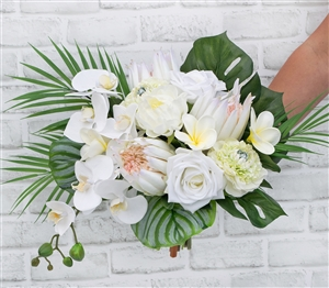 Real Touch Tropical White, Protea, Orchids, Plumerias Silk Wedding Bouquet.