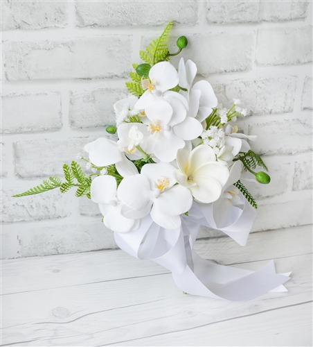 Tropical Plumeria and Orchids Real Touch Silk Wedding Bouquet