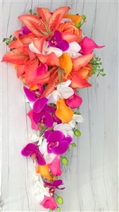 Real Touch Tropical Orange Fuchsia and Off White Stargazers, Orchids and Calla Lilies Silk Wedding Bouquet