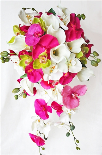 Natural Touch Green and Fuchsia Orchids and Off White Callas Cascading Bouquet