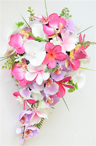 Natural Touch Fuchsia, Pink Lilac Callas, Plumerias & Orchids Cascade Silk Wedding Bouquet