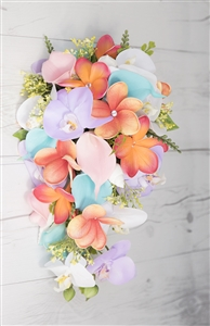 Natural Touch Fuchsia, Pink  Aqua Turquoise Lilac Callas, Plumerias & Orchids Cascade Silk Wedding Bouquet
