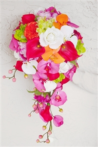 Natural Touch Green and Fuchsia Orchids and Off White Roses Cascading Bouquet
