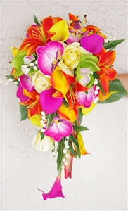 Natural Touch Green, Orange & Fuchsia Cascade Bouquet