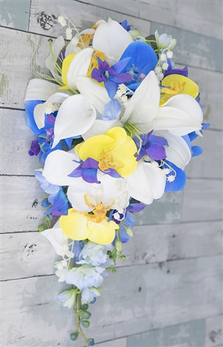 Natural Touch Tropical Blue Purple & Yellow Callas made with Orchids, Casablanca Lilies and Orchids