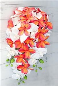 Natural Touch Coral Cascade Bouquet with Plumerias and Orchids