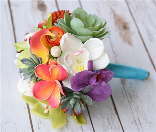 Natural Touch Orchid, Plumerias and Succulent Bouquet