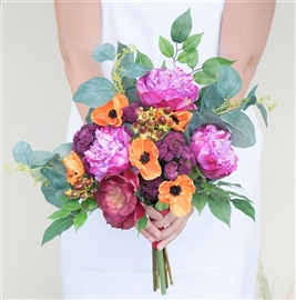 Peonies, Poppies, Eucalyptus and Succulent Hand Tied Boho Rustic Real Touch Silk Wedding Bouquet