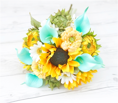 Sunflower Yellow and Aqua Calla Lilies Real Touch Silk Wedding Bouquet