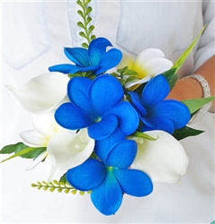 Perfect Blue Natural Touch Blue Plumerias, White Callas and Greens Bouquet