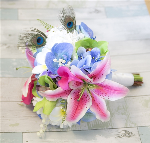 Silk Fuchsia, Purple, Green & Turquoise Lilies, Orchids & Callas Natural Touch Bouquet