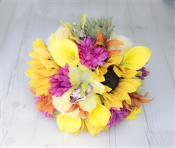 Sunflowers, Daisies, Orchids & Callas Yellow Fuchsia Real Touch Silk Wedding Bouquet
