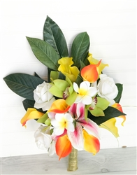 Silk Wedding Tropical Bouquet Mix in Orange, Yellow, Green and Pink Natural Touch Bouquet with Orchids, Plumerias, Roses and Stargazer