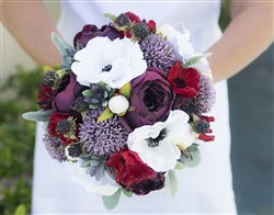 Plum & Red Boho Vintage Garden Bouquet - Real Touch Anemone, Peonies Succulents Silk Wedding Bouquet