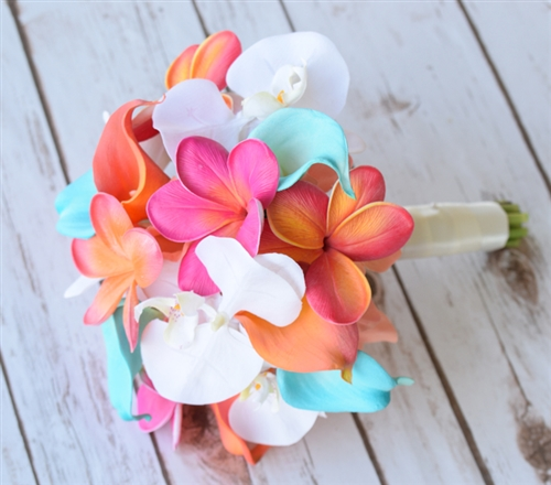 Natural Touch Orchids and Plumerias Bouquet in a Fuchsia, Coral and Turquoise Mix