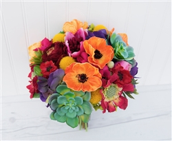 Natural Touch Orange, Red, Green & Fuchsia Succulent Poppies Wedding Bouquet