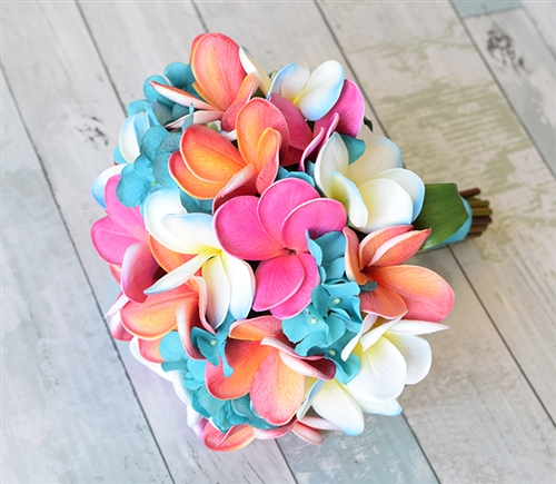 Natural Touch Fuchsia, Teal and Coral Plumerias & Hydrangea Bouquet