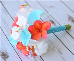 Teal Turquoise and Coral Natural Touch Orchid, Plumerias & Calla Lilies