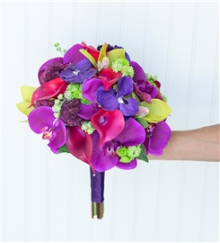 Purple, Fuchsia  and Green Tropical Silk Wedding Bouquet - Made with Real Touch Orchids and Callas