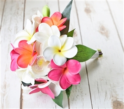 Tropical Bouquet of Natural Touch Fuchsia Orange and Pink Plumerias