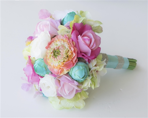 Beauty Color Mix Fuchsia, Coral and Turquoise Ranunculus, Roses & Peonies Silk Wedding Bouquet