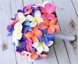 Natural Touch Blue Purple and Fuchsia Plumeria Bouquet