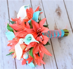 Natural Touch Coral and Tiffany Seashell Bouquet