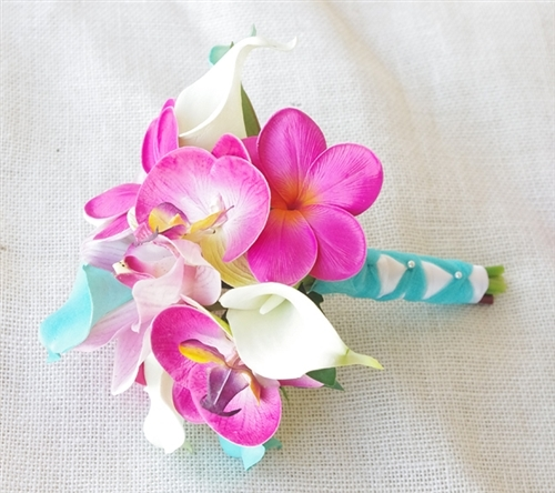 Natural Touch Orchid, Plumerias & Calla Lilies in Turquoise and Fuchsia