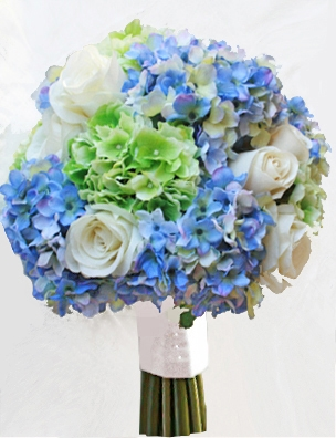 off white roses with green and blue hydrangeas wedding bouquet. Black Bedroom Furniture Sets. Home Design Ideas