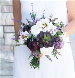 Eggplant Succulent Mix Bouquet - Lavender Sprays and Blush Tones