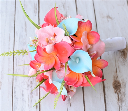 Natural Touch Coral, Pink and Turquoise Plumerias, Callas & Orchids Silk Wedding Bouquet