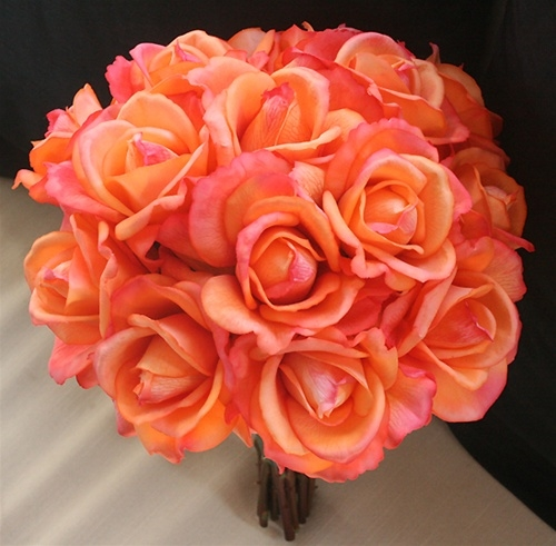 Natural Touch Orange Coral Open Roses Bouquet Silk Wedding Flowers