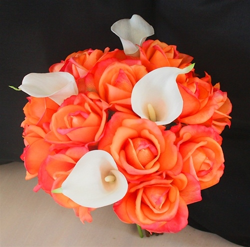 Real Touch Orange Coral Roses & Callas Silk Wedding Bouquet