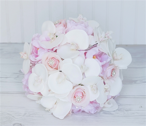 Blush Pink Roses Peonies and Orchids Silk Romantic Wedding Bouquet