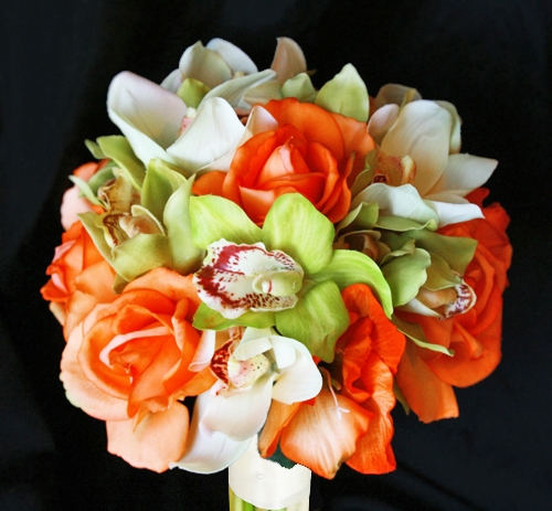 Natural Touch Orange Roses, Off White and Green Orchids Bouquet