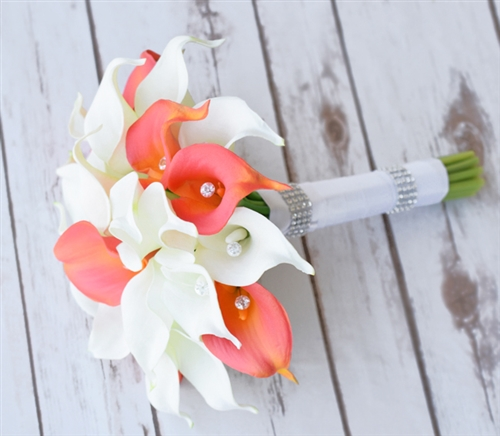 Real Touch Coral & Off White Calla Lilies and Crystals Silk Wedding Bouquet