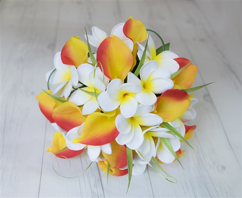 Calla Lilies & Plumerias Orange, Yellow Peach Real Touch Silk Wedding Tropical Bouquet